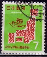 Japan, 1968, Map With Postal Codes, 7y,type II, Sc#957, Used - Gebraucht