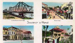Cpsm Colorisée Souvenir De HANOÎ,pont Doumer, Rue Des Caisses, Gare, Pagode Mol Cô  (53.36) - Vietnam