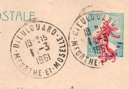 1961-BELLE VARIETE--Entier CP N°1233-CP1-Marianne Piel-Couleur Rouge Décalée (pieds En Dehors Du Cadre)-DIEULOUARD-54 - Entiers Postaux