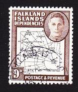 Falkland Islands Dependencies, Scott #1L7, Used, Map, Issued 1946 - Falkland Islands