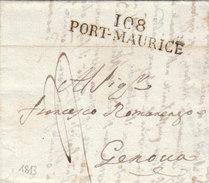 France Italia Dept Conquis Montenotte Entier 108 PORT-MAURICE Liguria Pour Genova 1813 (q17) - Storia Postale