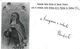 [DC9289] CPA - TORINO - CHIESA SANTA TERESA - RICORDO DELLA FESTA - AUGURALE - Viaggiata - Old Postcard - Churches