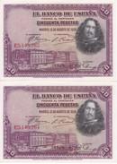 PAREJA CORRELATIVA DE 50 PTAS DE 1928 DE VELAZQUEZ SERIE E SIN CIRCULAR-UNCIRCULATED (BANKNOTE) - [ 1] …-1931 : Primeros Billetes (Banco De España)