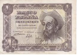 BILLETE DE ESPAÑA DE 1 PTA DEL AÑO 1951 EL QUIJOTE SERIE M CALIDAD MBC (VF)  (BANKNOTE) - [ 3] 1936-1975 : Regency Of Franco
