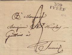 France Italia Dept Conquis Doire Entier 108 IVREE Ivrea Pour Turin 1812 (q21) - Storia Postale