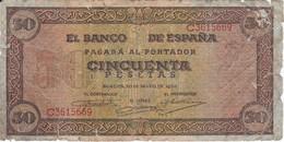 BILLETE DE ESPAÑA DE 50 PTAS DEL 20/05/1938 SERIE C CALIDAD RC (BANKNOTE) - [ 3] 1936-1975 : Régence De Franco