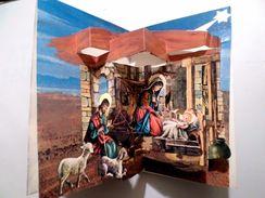 CHRISTMAS Postcard CRIB ART MECHANICAL Double VINTAGE POSTCARD 1970 Years - - Noël