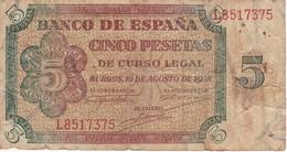 BILLETE DE ESPAÑA DE 5 PTAS DE BURGOS DEL AÑO 1938 SERIE L  (BANKNOTE) - [ 3] 1936-1975 : Régimen De Franco