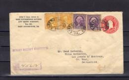 ETATS-UNIS  Entier  Postal De PISTTBURGH Pour Les AVANTS Sur MONTREUX Avec Affr. Complèmentaire - Postal Stationery