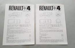 Renault R4 Export-Parisienne\Lusso 1968  2 SCHEDE TECNICHE Depliant Brochure Originale Auto - Genuine Car Brochure - Automobili