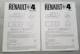 Renault R4 Parisienne-Lusso 1967 2 SCHEDE Tecniche Depliant Brochure Originale Auto - Genuine Car Brochure - Automobili