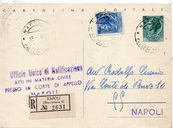 1958 Italie Italien Italia Intero Sir £20 Raccomandato Vg Napoli R-Ganzsache Recommande Entier - 6. 1946-.. Repubblica