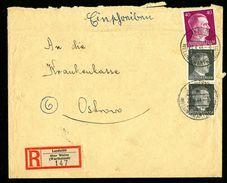 DR Einschreiben Versicherung 1944 Landstätt über Welun Wartheland Nach Ostrowo L1141 - Deutschland