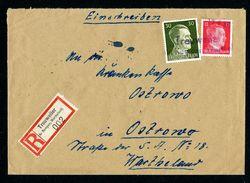 DR Einschreiben Versicherung Notstempel 1944 Treuweiler Kreis Kemen Wartheland Nach Ostrowo L1143 - Deutschland
