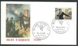 1975 ITALIA FDC ROMA SALVO D'ACQUISTO NO TIMBRO ARRIVO - KI20 - FDC