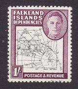 Falkland Islands Dependencies, Scott #1L8, Used, Map, Issued 1946 - Falkland Islands