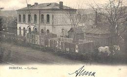 Herstal - La Gare (animée, Train, Chevaux, 1905) - Herstal