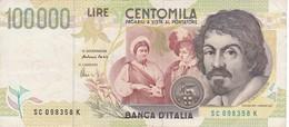 BILLETE DE ITALIA DE 100000 LIRAS DEL AÑO 1994 SERIE SC DE CARAVAGGIO (BANKNOTE-BANK NOTE) - [ 2] 1946-… : República
