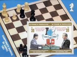 Championat Italy Thomas/Prinzen-Insel Block 68 I ** 15€ Schach-WM 1981 Overprint Bloc S/s Chess Sheets Bf Sao Tome - Sao Tome Et Principe