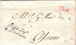 France Italia Dept Conquis Ombrone Entier 114 SIENNE Siena En Rouge Prefet Dept De L'Ombrone Pour Asciano 1809 (q28) - 1792-1815: Conquered Departments