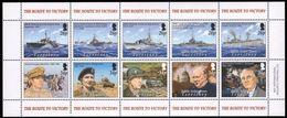 B.I.O.T. 2005 - 50e Ann Fin 2e Guerre Mondiale, Navires De Combat, Churchill, Roosevel - Feuillet De 10 Val Neufs // Mnh - WW2