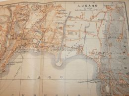 Lugano Italy Map Karte 1908 - Mappe