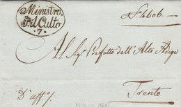 Italy Regno D'Italia Periodo Napoleonico Milano Ministro P. Il Culto 7 To Prefetto Dell'Alto Adige Trento 1813 (q36) - Italia