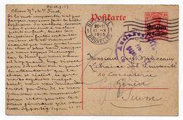 Belgique-1915-entier CP Occupation Allemande-de Bruxelles Pour Genève (Suisse)--cachet Censure.....à Saisir - Stamped Stationery