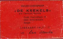 Lidkaart Volkskunstgroep De Krekels Bomheiden 1975 1976 - Tickets D'entrée