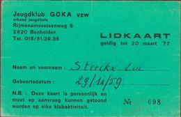 Lidkaart Jeugdklub GOKA Bonheiden 1977 - Tickets D'entrée
