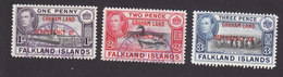 Falkland Islands Dependencies, Scott #2L2-2L4, Used, Ships Overprinted, Issued 1944 - Falkland Islands