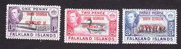 Falkland Islands, South Georgia, Scott #3L2-3L4, Used, Ship Overprinted, Issued 1944 - Falkland Islands