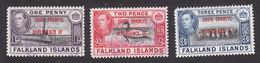 Falkland Islands, South Orkneys, Scott #4L2-4L4, Used, Ship Overprinted, Issued 1944 - Falkland Islands