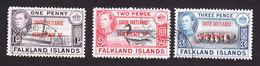Falkland Islands, South Shetlands, Scott #5L2-5L4, Used, Ship Overprinted, Issued 1944 - Falkland Islands