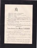 OOSTENDE OSTENDE Louis CARBON époux HAMMAN 1858-1897 Consul De Russie Famille De QUILLACQ CARPENTIER - Obituary Notices