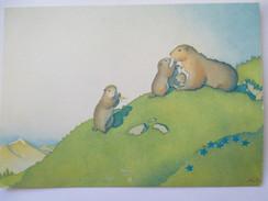 Illustration Marmottes  N° 169 L'heureuse Famille Selon Greuze D'après Samivel Carte Non écrite - Autres Illustrateurs