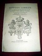 Regno Sardegna Savoia Torino Manifesto Camerale Dritti E Spese Di Giustizia 1823 - Vecchi Documenti
