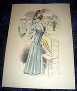Stampa Litografia D' Epoca Originale - Moda Abiti Donna  B87 - 1900 Ca - Stampe & Incisioni