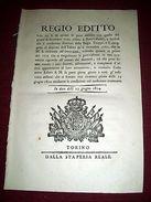 Regno Di Sardegna Torino Regio Editto Punizioni Disertori Regie Truppe 1814 - Old Paper