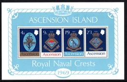 ASCENSION ISLAND 1969 Royal Naval Crests (1st Series): Miniature Sheet UM/MNH - Ascension
