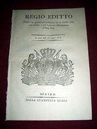 Regno Savoia Torino Regio Editto Provvedimento Gabella Carta Bollata 1814 - Old Paper
