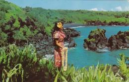 Hawaii Lovely Hawaiian Girl On Black Sand Beach At Waianapanapa