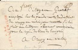 Marque Postale En Port Payé De La Ferte Milon (02 - Aisne) Pour Crépy En Valois (60 - Oise) Régie Des Biens Des émigrés - Marcophilie (Lettres)