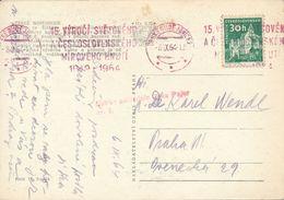 M0503 - Czechoslovakia (1964) Ceske Budejovice 2 (promotion Machine Postmark - Red!!!); Postcard: City; Tariff: 30h - Tschechoslowakei/CSSR