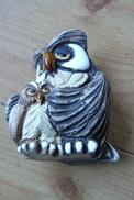 Superbe Chouette Avec Son Petit - Sculptée, Peinte Et émaillée - Animals