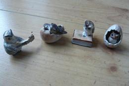 4 Petites Chouettes En Céramique (voir Scans) - Animaux