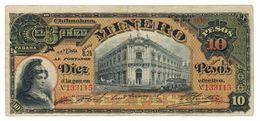 Mexico, Banco Minero, 10 Pesos 1914, F/VF, Rare Large Note. - Mexico