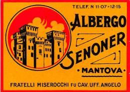 "07176 ""ALBERGO SENONER - MANTOVA - FRATELLI MISEROCCHI FU CAV. UFF. ANGELO"" ETICHETTA BAGAGLIO ORIG. - Hotel Labels"