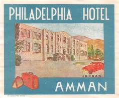 "07181 ""PHILADELPHIA HOTEL - AMMAN - JORDAN"" ETICHETTA BAGAGLIO ORIG. - Hotel Labels"