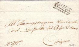 Italy Repubblica Italiana Periodo Napoleonico REP. ITALICA FERRARA To Codigoro 1802 (q41) - ...-1850 Voorfilatelie